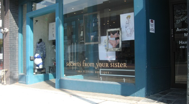 Exterior of Secrets From Your Sister bra fitting boutique